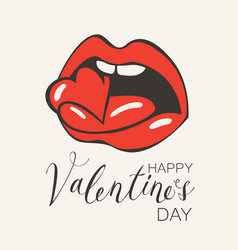 valentine card with a human mouth biting heart vector image