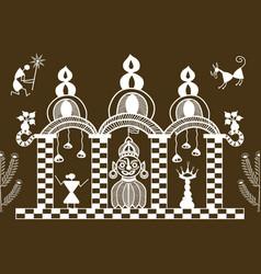 warli temple pattern vector image