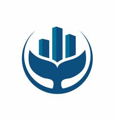 Whale estate logo design template vector