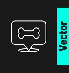 white line dog bone icon isolated on black vector image
