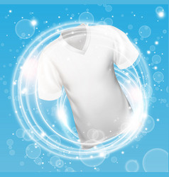 White shirt washing in water with soap bubble vector