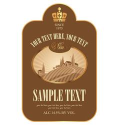 wine label with european rural landscape vector image