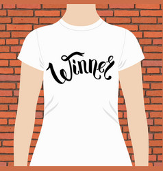 Winner text in ribbon style on tee shirt vector