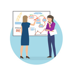 women whiteboard strategy up vector image
