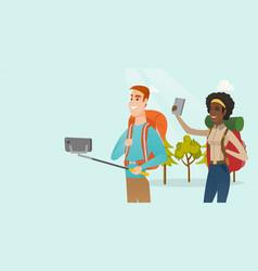 Young multiracial travelers making selfie vector