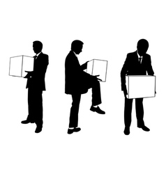 businessmen with boxes vector image vector image