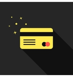 golden credit card with long shadow vector image vector image