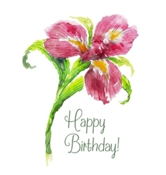 Greeting card Happy Birthday with red watercolor vector image vector image