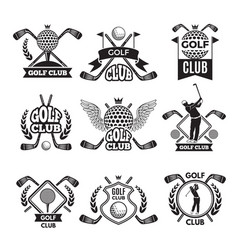 monochrome labels for golf club for vector image vector image