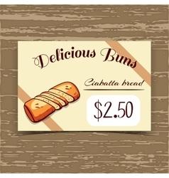 Price Tag Design Ciabatta Bread vector image vector image