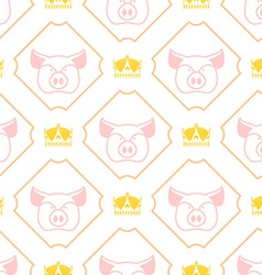 Royal pork seamless pattern Pig and crown regal vector image vector image
