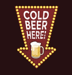 Vintage metal sign Cold Beer Here vector image vector image