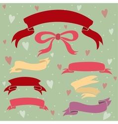 Wedding ribbons set hearts and bow vector image