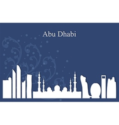 Abu Dhabi city skyline on blue background vector image vector image