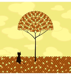 lonely cat tree autumn vector image