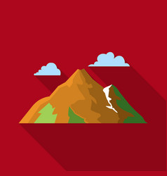 mountain icon in flat style for web vector image