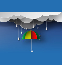 Paper art of colorful umbrella with rainy vector