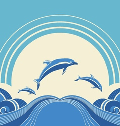 Seascape with dolphins in water vector image vector image