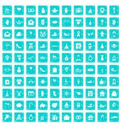 100 gift icons set grunge blue vector image vector image