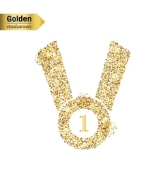 Gold glitter icon of medal isolated on vector image vector image