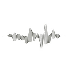 monochrome sound wave on white background vector image vector image