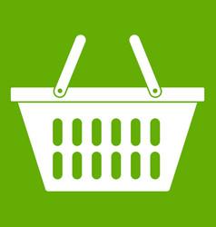 plastic shopping basket icon green vector image