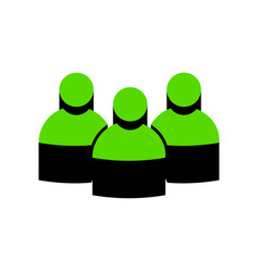team work sign green 3d icon with black vector image vector image