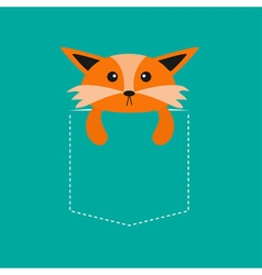 Fox in the pocket Cute cartoon character Dash line vector image vector image