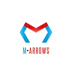 Letter M logo arrows red and blue color direction vector image vector image