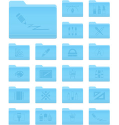 OS X Folders with Art and Design Icons vector image