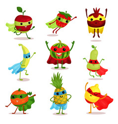 set of happy superhero fruit vector image