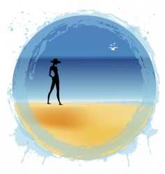 woman on the beach vector image vector image