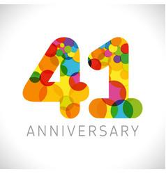 41 years anniversary circle colorful logo vector