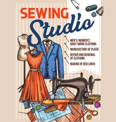 atelier sewing and tailoring sketch poster vector image