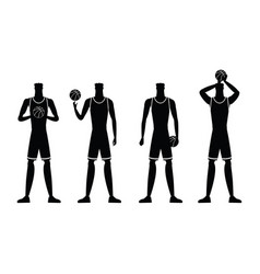 basketball players silhouettes vector image