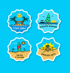 beach vacation bold line sticker label vector image