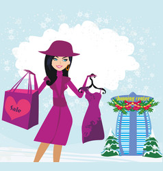 Beautiful girl on winter shopping card vector