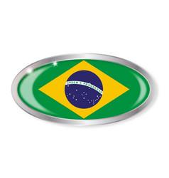 brazil flag oval button vector image