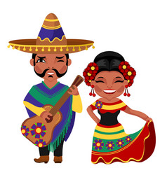 cartoon color characters people mexican concept vector image