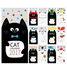 Cat vertical monthly calendar 2017 cover All vector