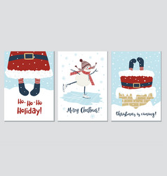 christmas and new year cards with santa and vector image