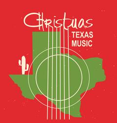 christmas texas music poster vintage card vector image
