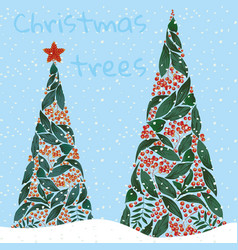 christmas trees with snow xmas background vector image