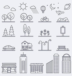 City in linear style Icons and vector