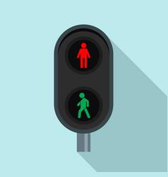 City pedestrian traffic lights icon flat style vector
