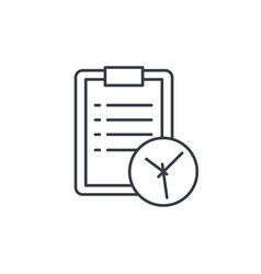 Clipboard and clock to-do list thin line icon vector