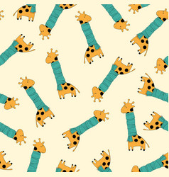 color seamless pattern with giraffes vector image
