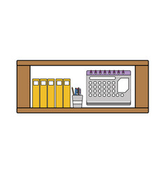 Colorful office shelf with folders document and vector
