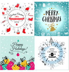colorful seamless pattern with red santa hats on vector image