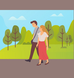 couple walking together cartoon characters in park vector image